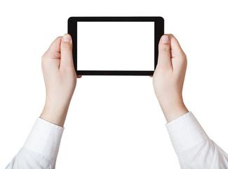 businessman hands holding tablet pc