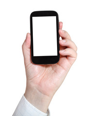 businessman holds smartphone with cut out screen