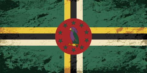 Dominican flag. Grunge background. Vector illustration