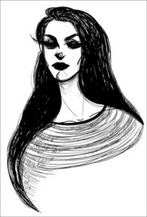 Vector illustration of a goth girl with long eyelashes