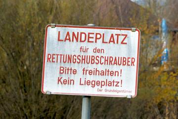 Schild für Rettungshubschrauber