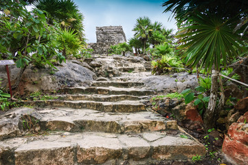 stairs to the Temple of the wind in Tulum,