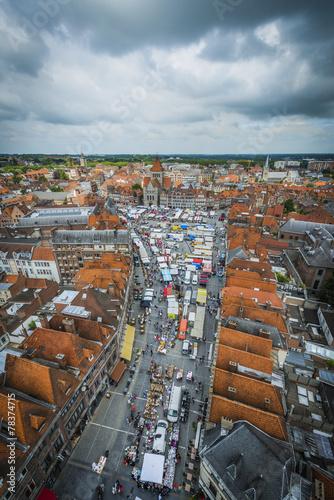Foto op Aluminium Oude gebouw Tournai Market in Belgium.