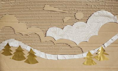 cardboard illustration of landscape background