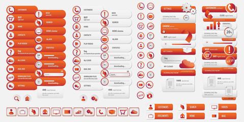 menus and buttons vector set