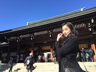 cute girl at Meiji Jingu shrine