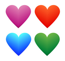 Heart multi pack color green red blue pink