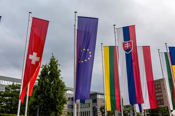 Europaflagge und andere Flaggen