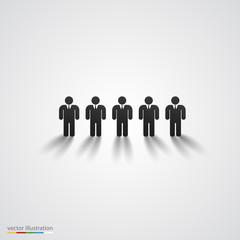 Black people silhouette row. Team concept