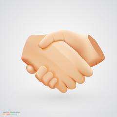 Realistic handshake sign on white background