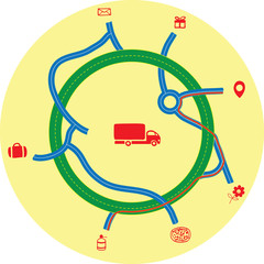 Delivery service on a background map