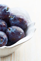 Plums in a white bowl (close up)