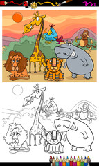wild animals cartoon coloring book