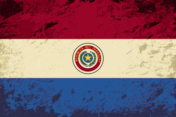 Paraguayan flag. Grunge background. Vector illustration