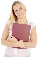 Frau mit Bewerbungsmappe vor Bewerbungsgespräch