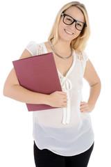 Frau mit Bewerbungsmappe auf Jobsuche