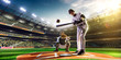 Professional baseball players on  grand arena - 78376992