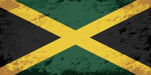 Jamaican flag. Grunge background. Vector illustration