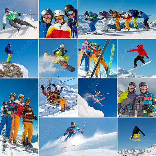 Ski/Snowboard Collage - 78377141