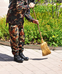 Soldier with a broom