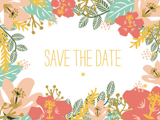 Save the date card with floral background. Vector design.