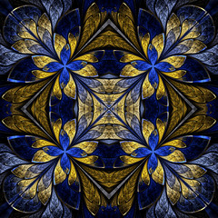 Symmetrical pattern in stained-glass window style. Blue and yell