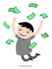 Young boy jumping for joy after winning money