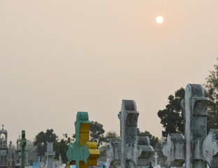 tombstone on the morning