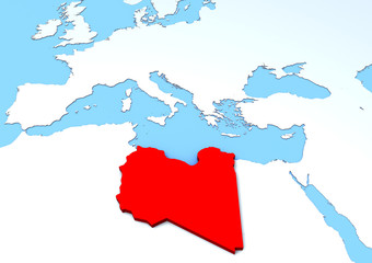 Cartina Libia in rilievo, rossa, 3d, africa, europa