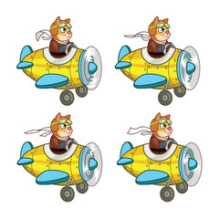 Cartoon Cat Pilot Sprite