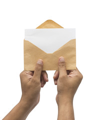 Male hand holding blank envelope with blank paper