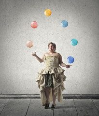 Juggling with coloured spheres