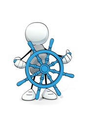 little sketchy man with blue nautical steering wheel
