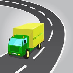 Green and Yellow Delivery Truck