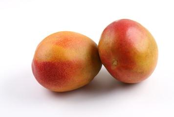 Two Ripe Mango fruit isolated on white