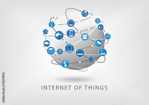 Internet of things connected world wide web illustration - 78379976