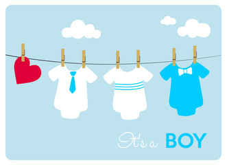 baby shower card, different colorful baby bodysuits