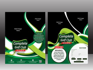 Golf Flyer Template With green Wave