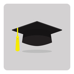 Vector of flat icon, graduation cap on isolated background