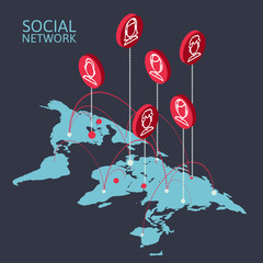 Conceptual image with social networks. Flat isometry