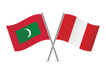 Peruvian and Maldives flags. Vector illustration.