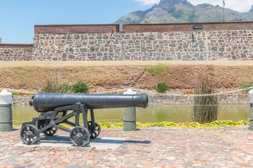 Cannon in front of the Castle of Good Hope in Cape Town,