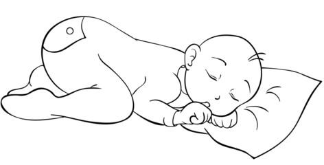 schlummerndes Baby Ausmalvorlage