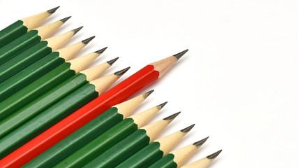 Red colored pencil stand out from the crowd.