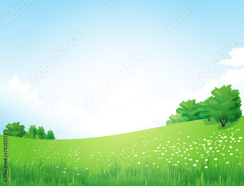Green Landscape with trees clouds flowers - 78383571