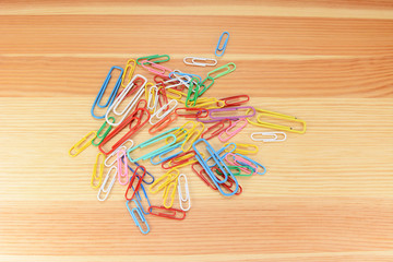 Large and small coloured paper clips
