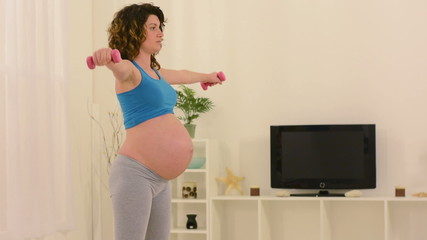 Pregnant Woman Doing Fitness