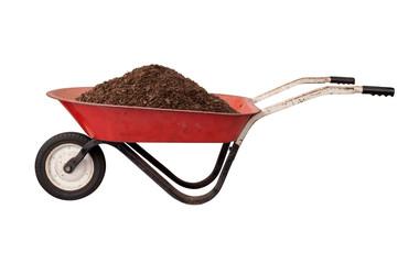 Rusty Red Wheelbarrow with Soil