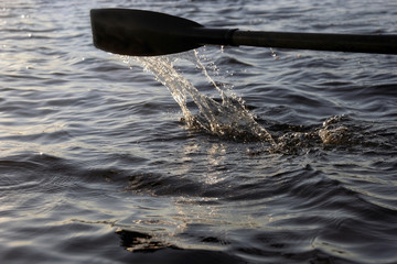 Весло в воде на закате