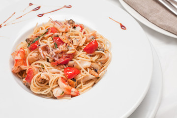Closeup photo of spaghetti with seafood